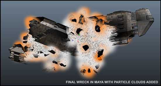 Finished wreck mesh including particle cloud