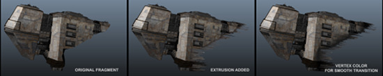 Adding extruded debris geometry and transition