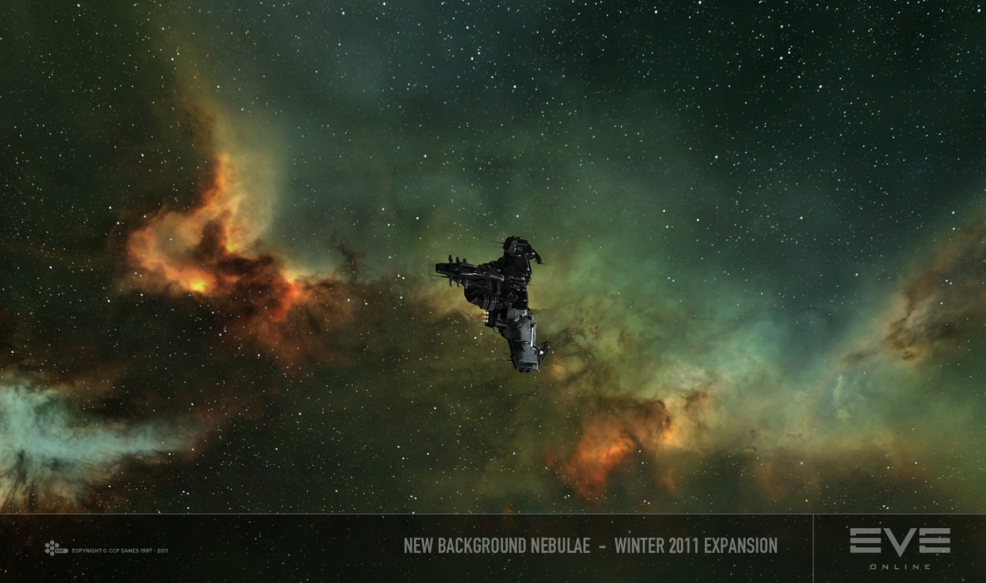 """A image showing the new nebulae, or """"backdrop"""" in space for EVE online."""